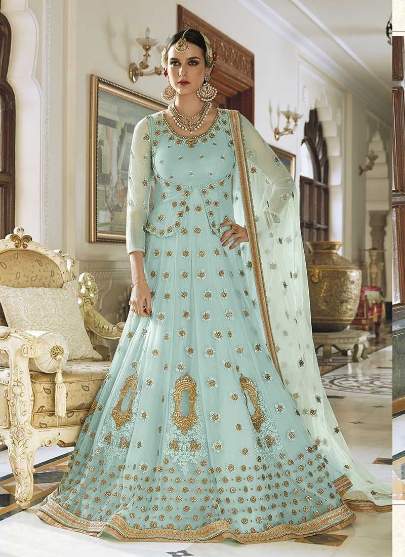 Shop Blue Net #LongLengthSalwarSuit @Chennaistore. | Long Length ...