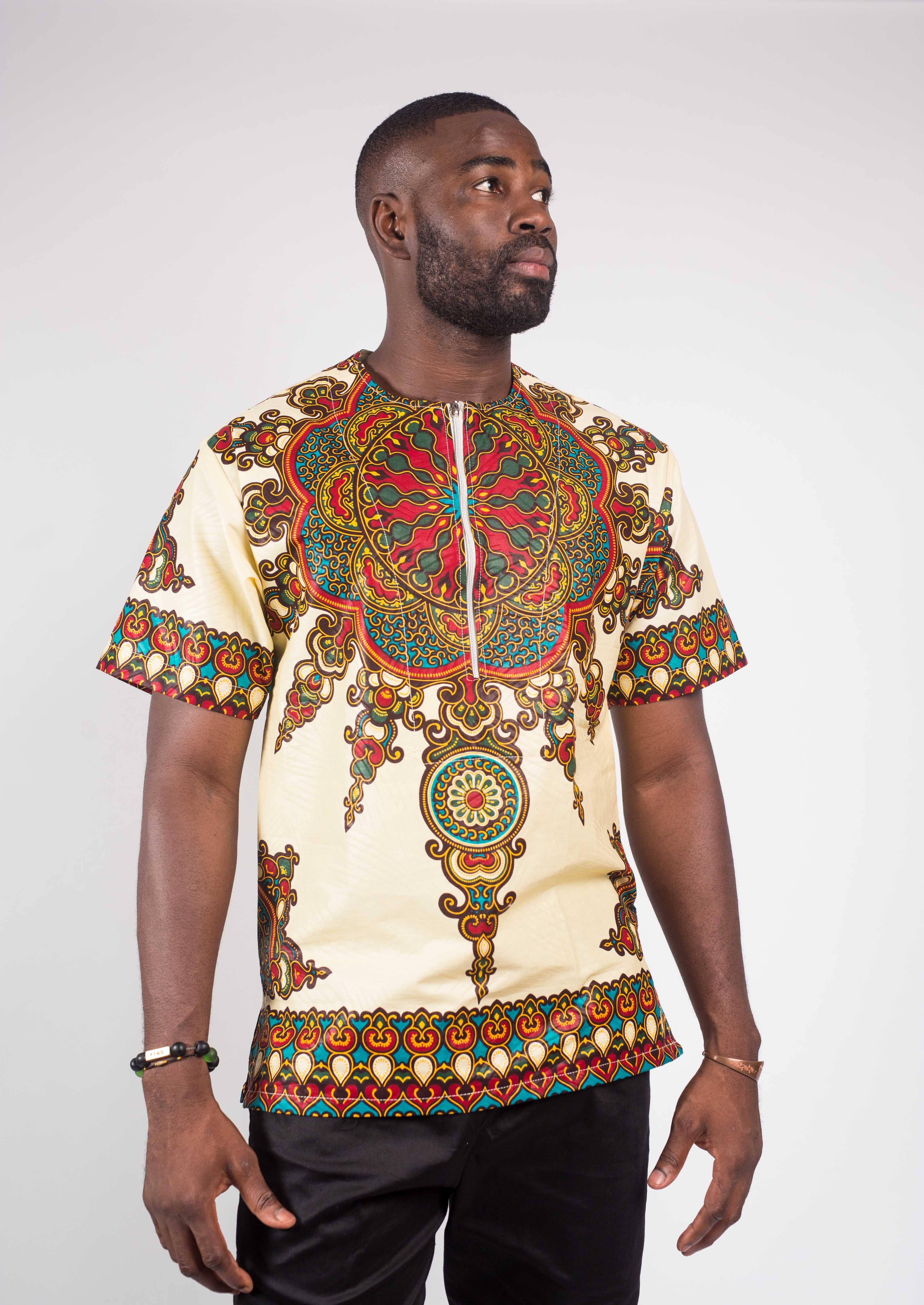 467d4b20d365 Cream Ankara Men s Shirt in 2019