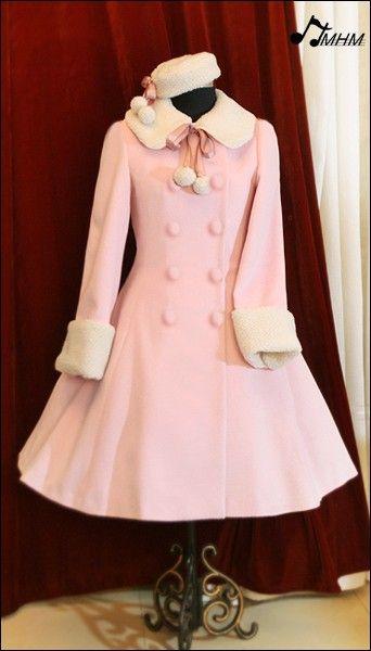 Sweet Pink A Line Long Lolita Winter Jacket Winter