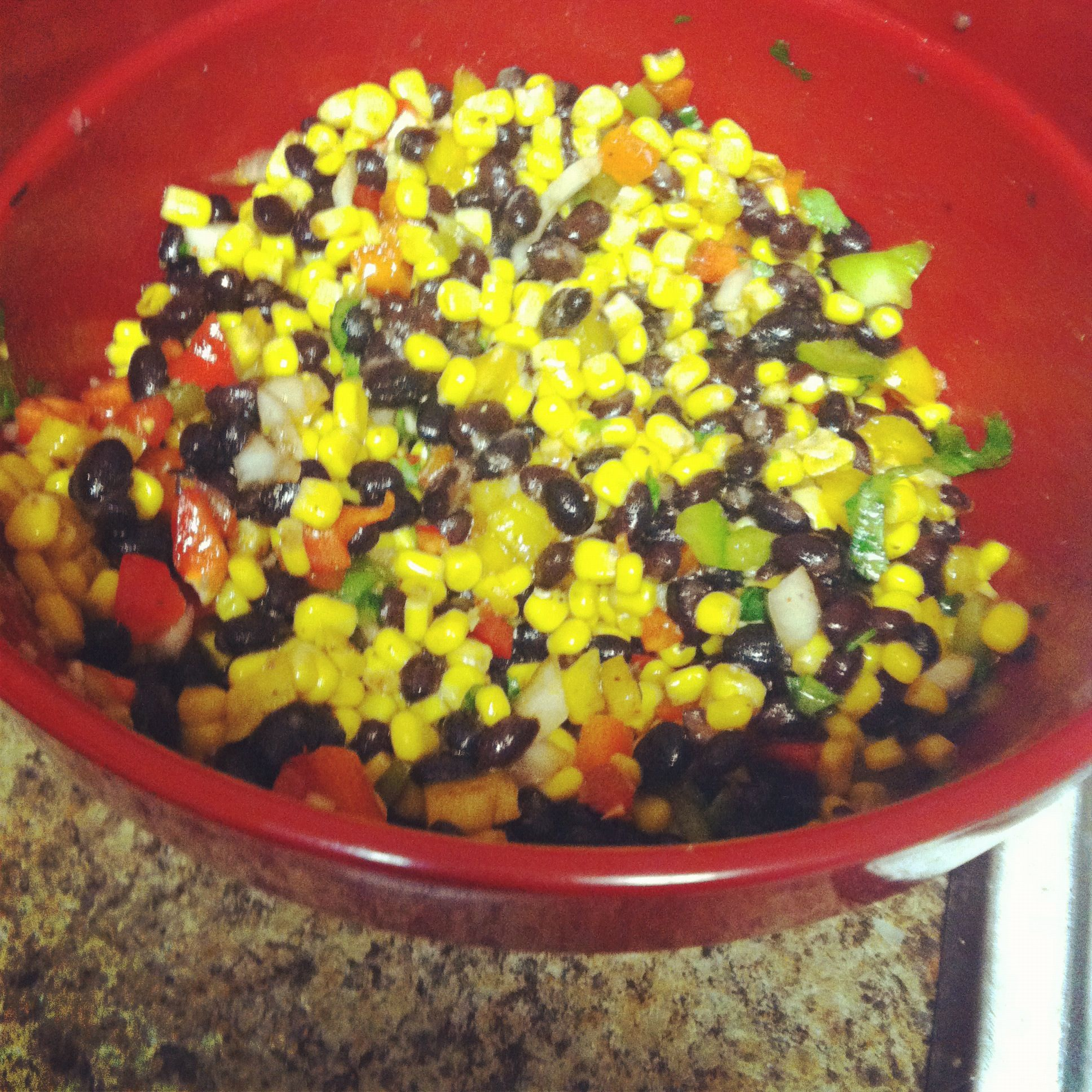 Southwestern corn and bean salad. Super easy to make.
