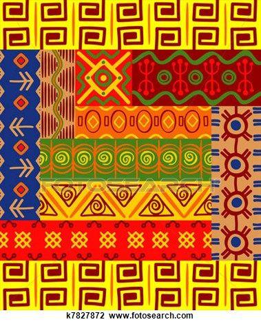 Ethnisch Muster Und Verzierungen Clipart Sudafrikanische