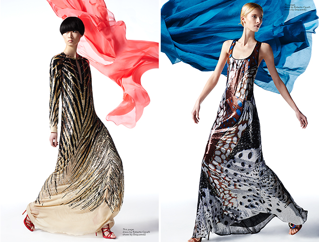Shot by Hans Eric Olson, Models Martyna Budna and Qu in Womens Fashion. From the left, Dress by Roberto Cavalli Shoes by Dsquared2, Dress by Roberto Cavalli Shoes by Dsquared2.