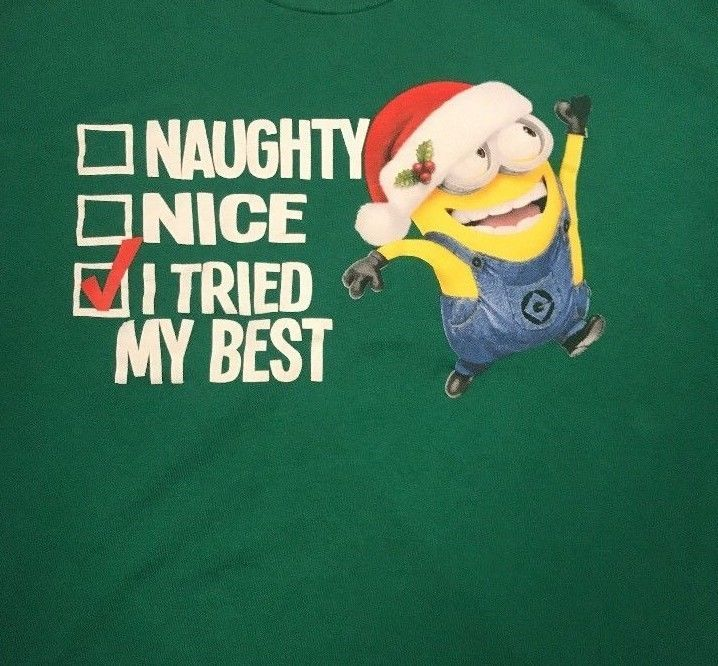 08b351dea Despicable Me Minion Christmas T-Shirt Graphic Tee Naughty Nice Tried Adult  3XL