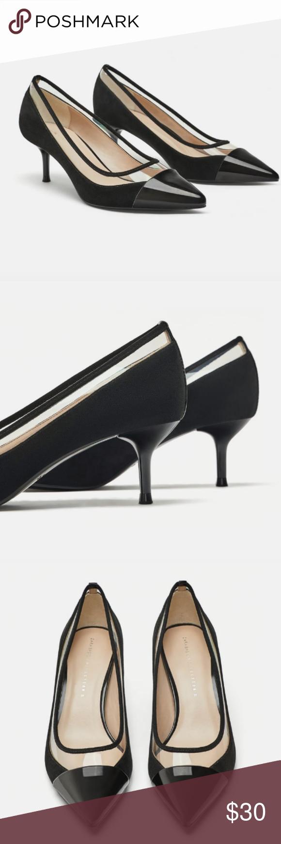 02619e44fda Zara Vinyl Mid Heel Shoes Black mid-heel shoes. Combination of materials on  the upper