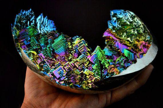 Spectral Ferns Large Bismuth Metal Crystal Iridescent by Element83, $998.00