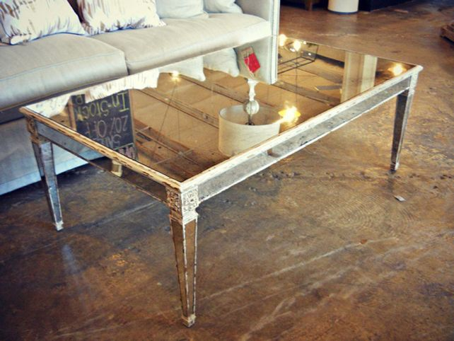 vintage mirrored coffee table | table designs plans | pinterest
