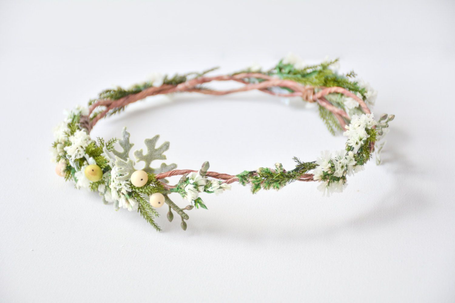 Woodland Wedding Flower Crown Elven Circlet Bridal Headpiece