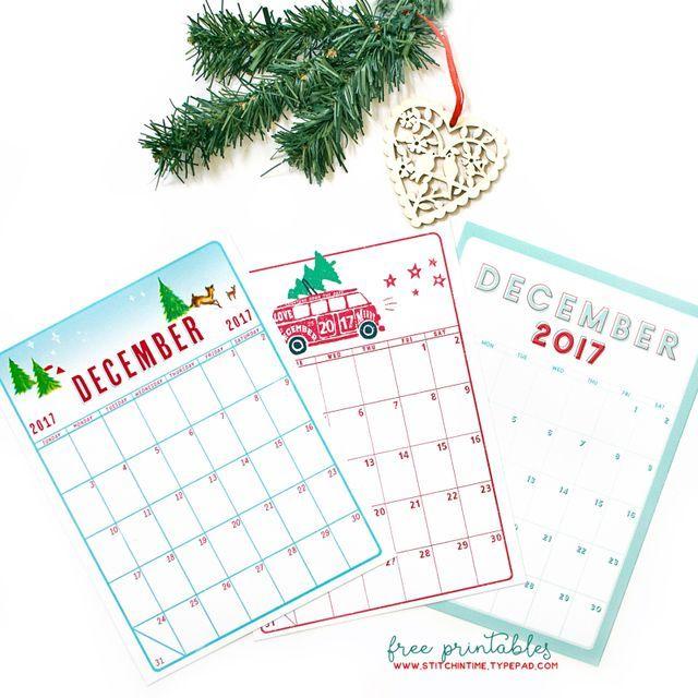 December Calendars (Stitch In Time) December calendar, December - daily calendar printable