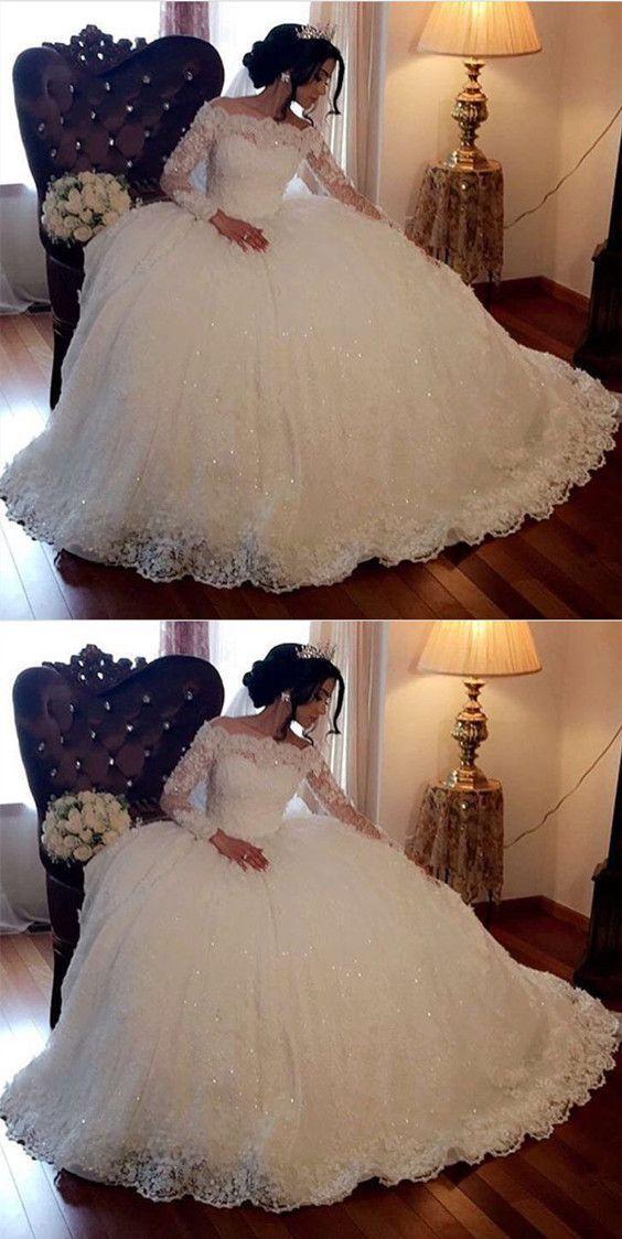 Vintage Lace Off Shoulder Brautkleider mit langen Ärmeln Ballkleider – Hochzeit und Braut