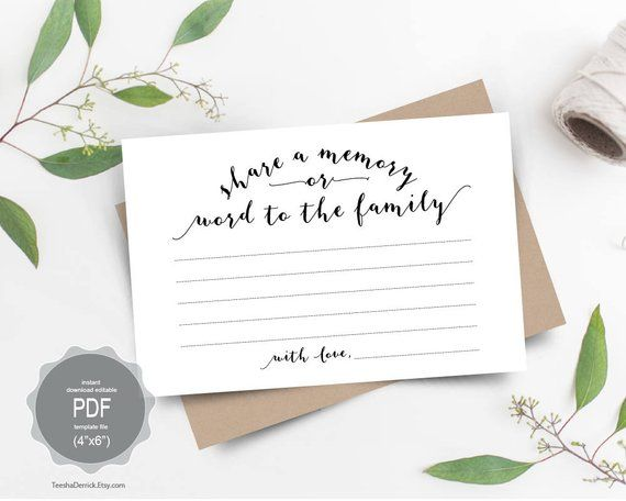 Share a Memory Card, Instant download editable PDF template, word to
