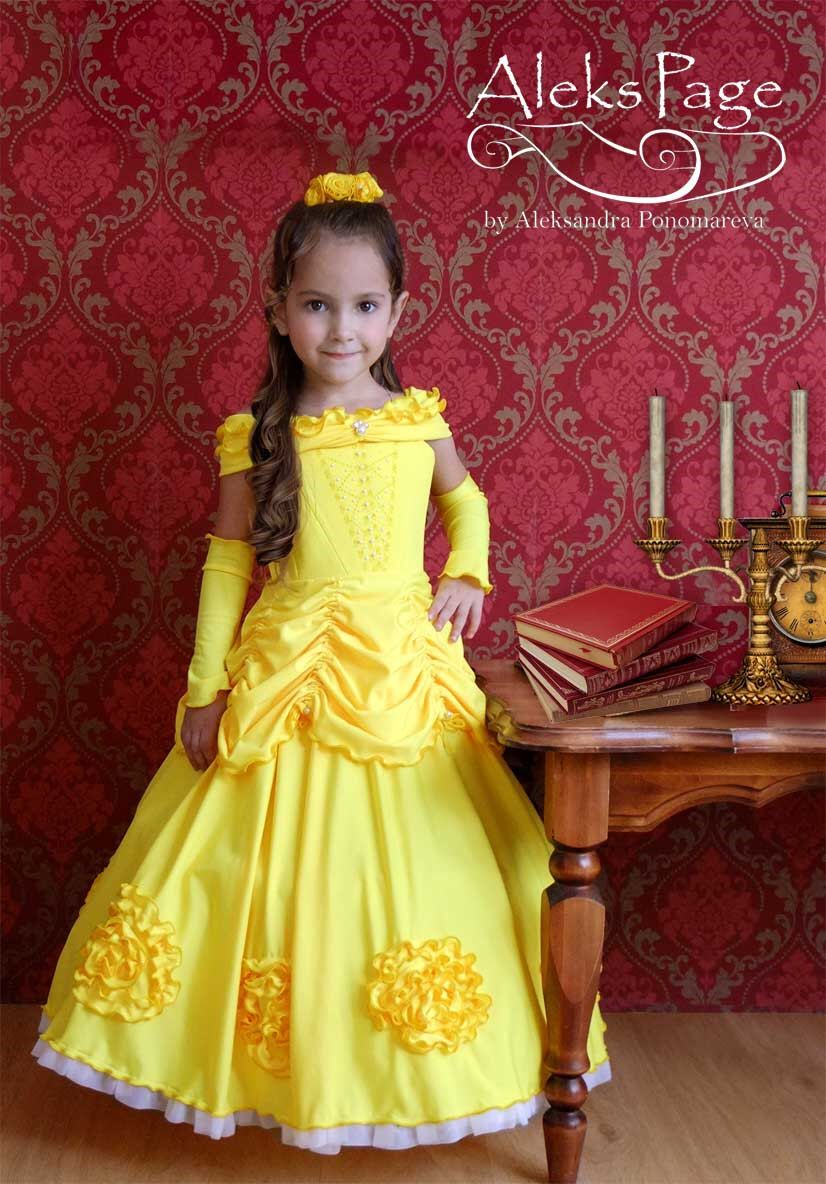 Children Girls Beauty And The Beast Kids Princess Belle Dress Up Set B1 Dresses
