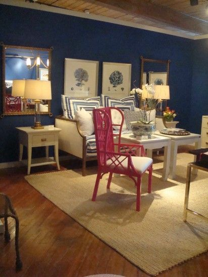 eggshell navy walls, white furniture and accessories ...
