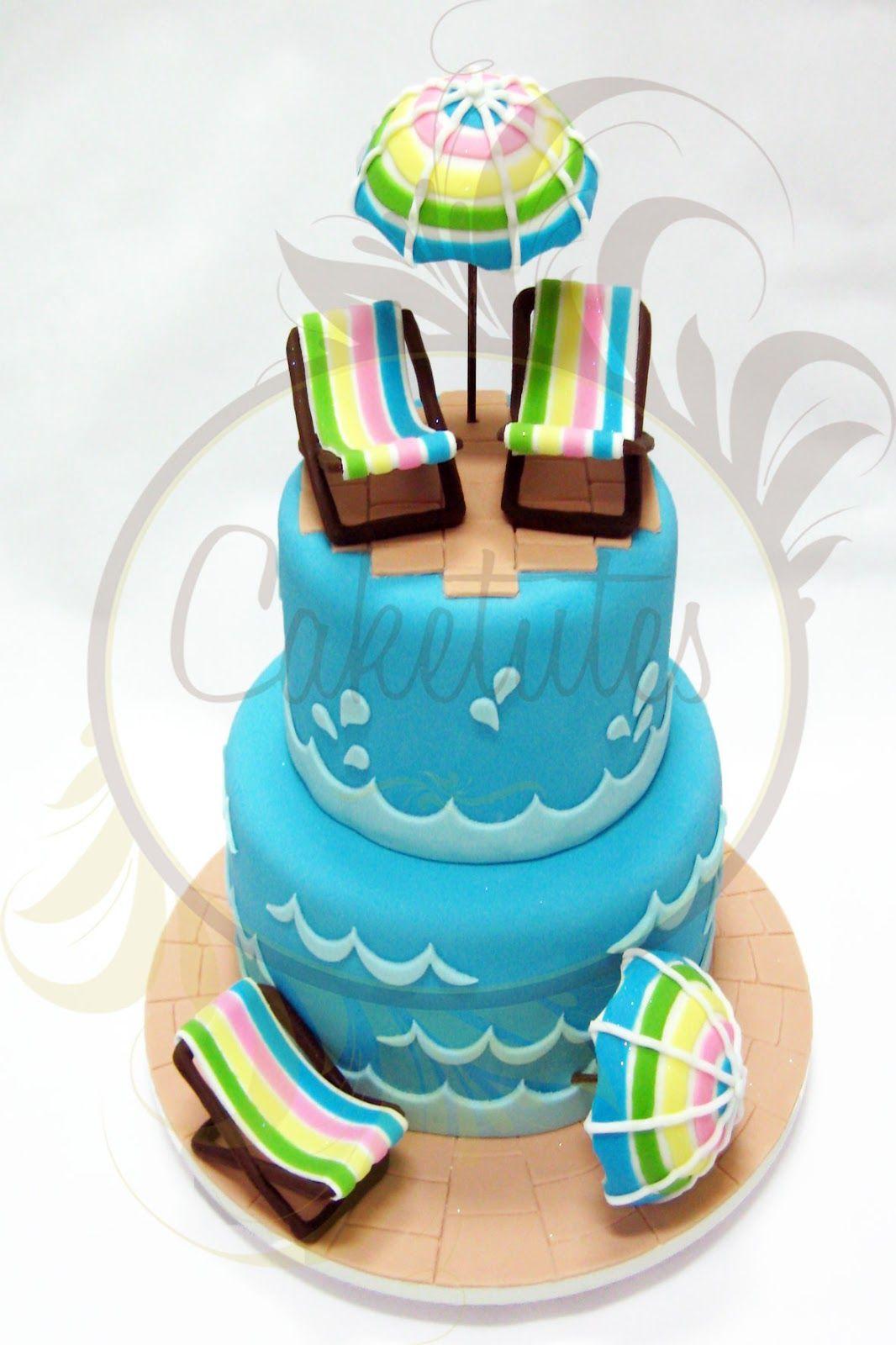 Pool Party Cake   Caketutes Cake Designer: Bolo Festa Na Piscina