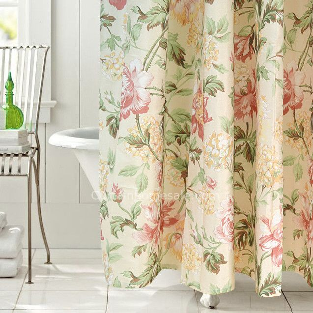 Japanese Floral Beige Fabric Shower Curtain Liner And Print ...