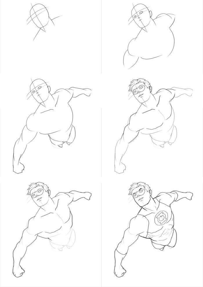 How To Draw Green Lantern Flying Drawing Superheroes Fly Drawing Comic Drawing