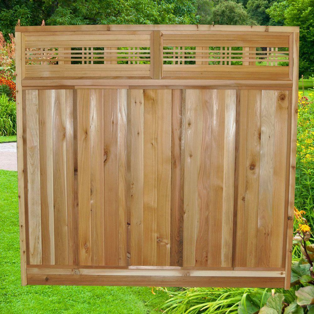 6 ft. x 6 ft. Horizontal Cedar Lattice Top Fence Panel Kit-6x6HorizTopFKit - The Home Depot