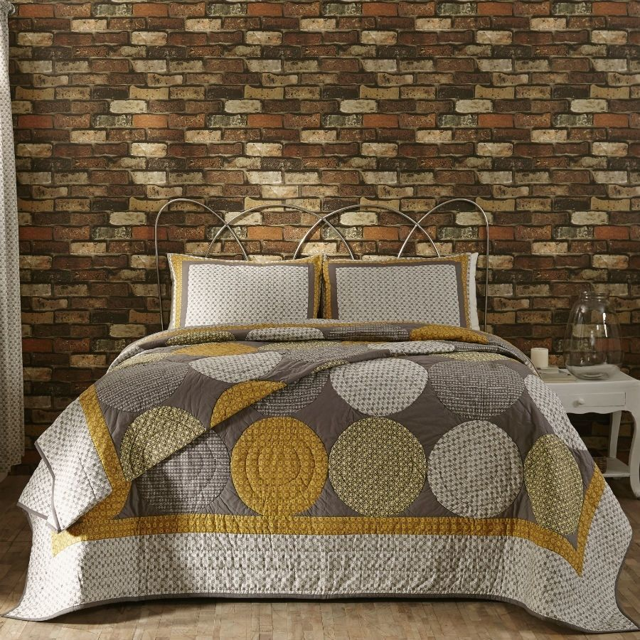 designer modern gray yellow large circles queen king quilt bedding  - designer modern gray yellow large circles queen king quilt bedding set