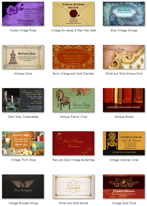 Antique dealer business cards a collection of the best antique shop business card templates available online full color double sided printing save up to with bulk orders 12 paper types square and rounded corners reheart Images