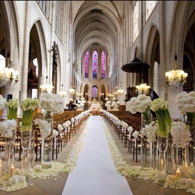 Flowers Church Wedding: Flower At End Of Aisle Eva Longoria's Wedding