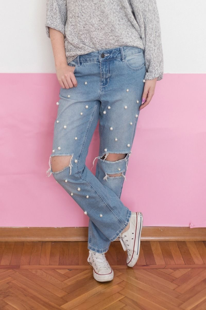 Make your very own DIY stylish pearl-embellished denim jeans for a fashion statement you'll love.