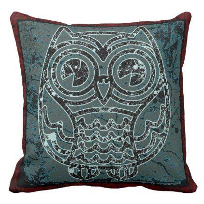 "#customize - #Owl in batik style2  Throw Pillow 20"" x 20"""