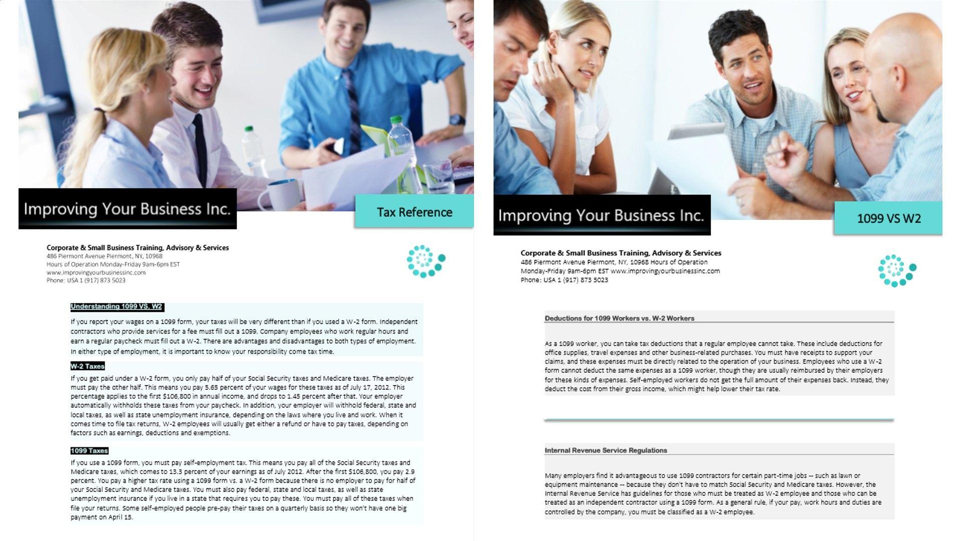 1099 vs w2 3 business segments training development consulting