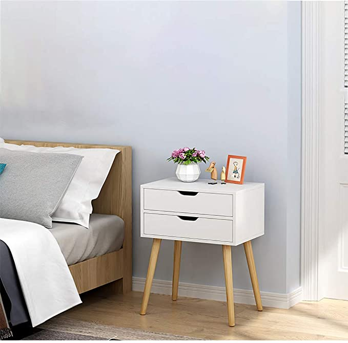 Amazon Com Beyonds Bedside Table 2 Drawers Wood White Nightstand With Legs Modern S Bedroom Night Stands Living Room Accessories Modern Bedside Table Design