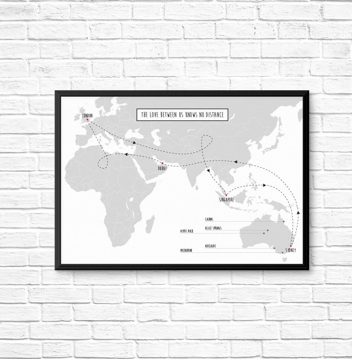 Personalised map framed print honeymoon anniversary long personalised map print a4 frame wedding anniversary long distance relationship family gumiabroncs Gallery