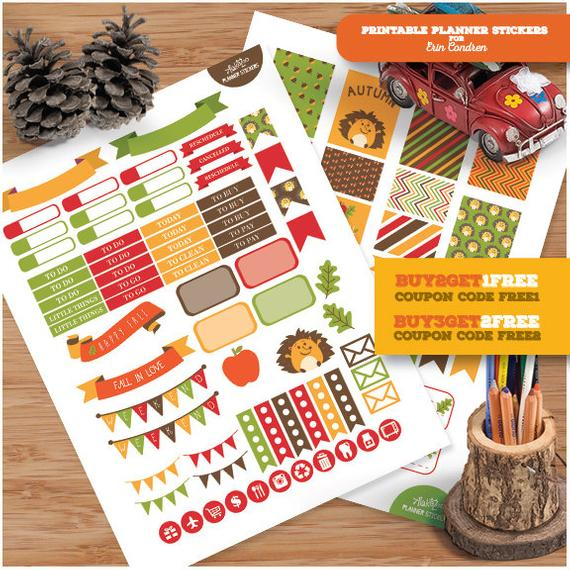 S341- Autumn Time Fall Hello Autumn Apple Fall:Planner Stickers Erin Condren