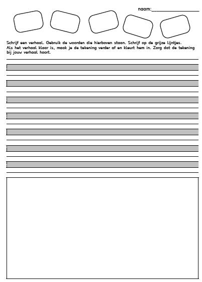 Onwijs werkblad voor het schrijven van een verhaal groep 3-4 en te HR-53