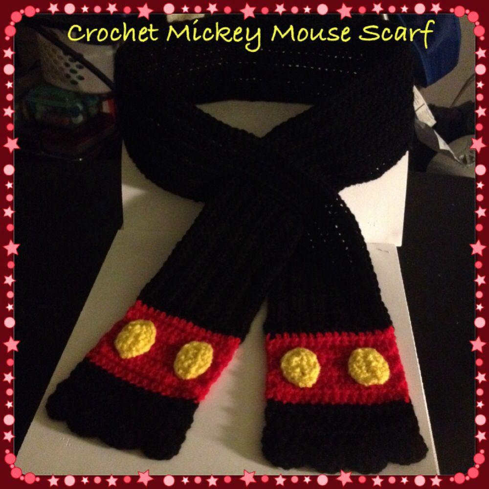 el más nuevo df810 1ea04 Crochet Mickey Mouse Scarf | gorros | Gorros de mickey ...