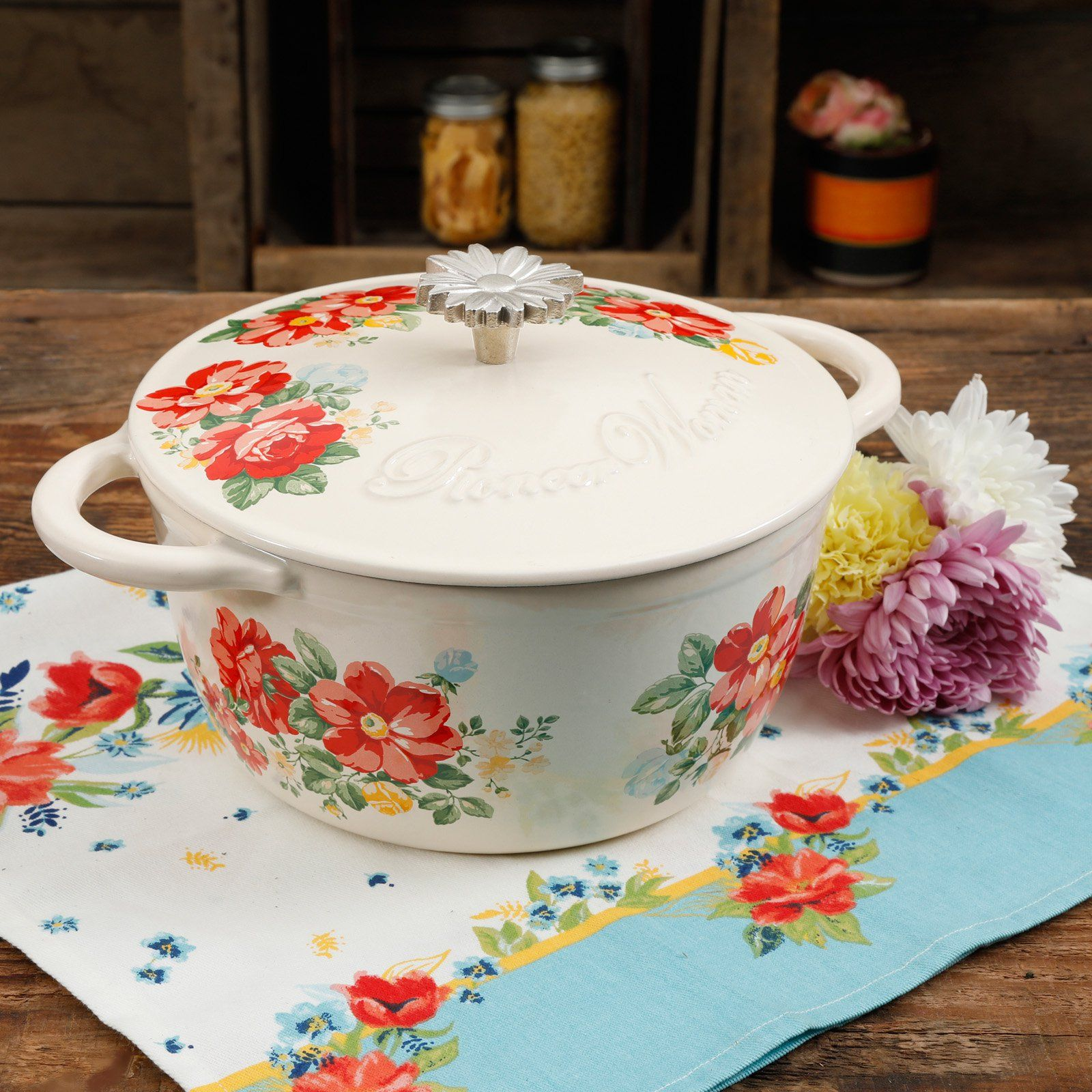 The Pioneer Woman Enamel On Steel Multi-Color Charming Floral Garden 4-Quart Dutch Oven