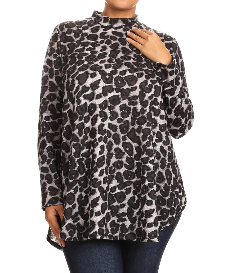 This Gray Leopard Mandarin Collar Tunic - Plus by MOA Collection is perfect! #zulilyfinds