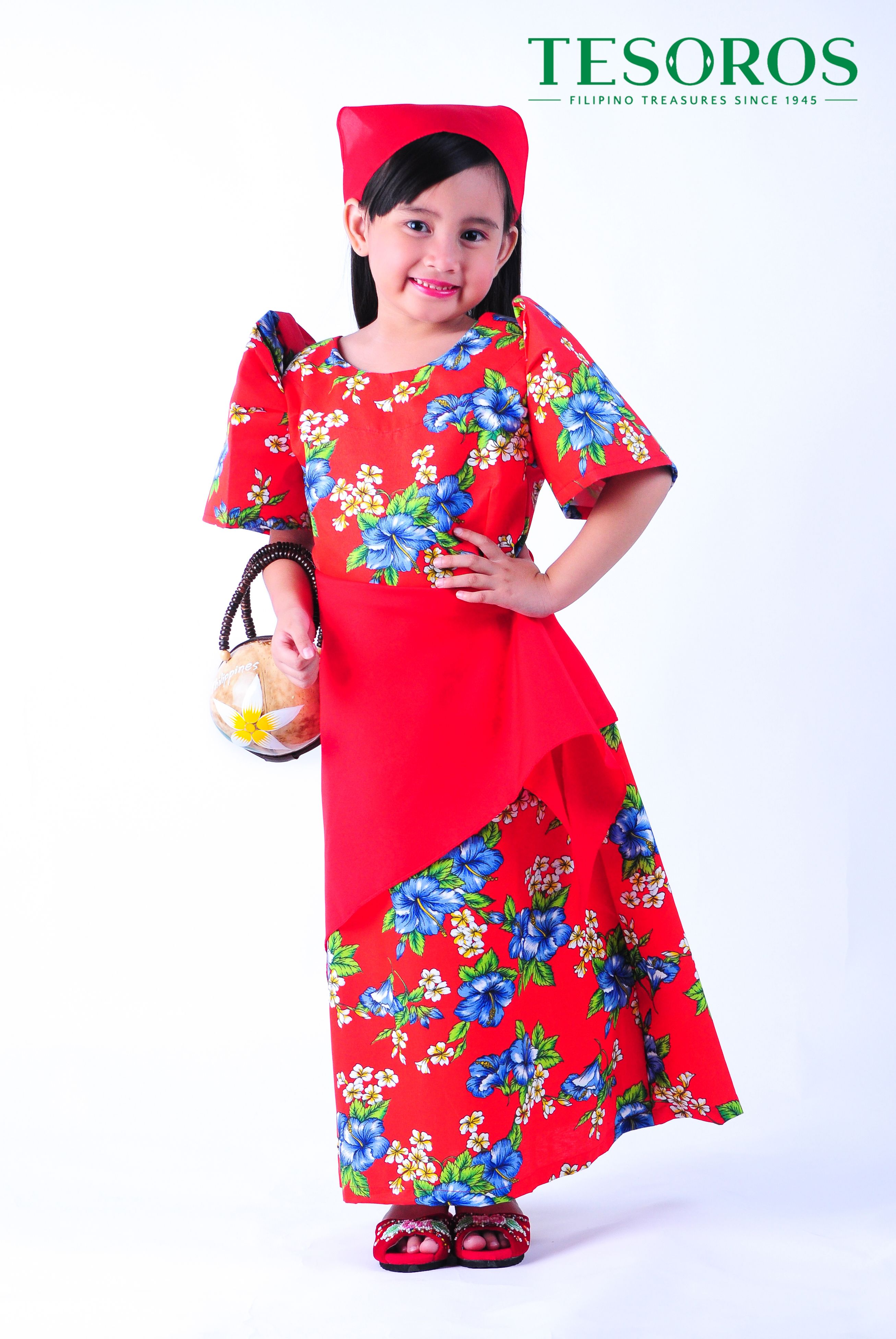fd7ea0696746e RED FLORAL BALINTAWAK DRESS A proudly young Filipina in Tesoro's Balintawak  with classic terno sleeves.