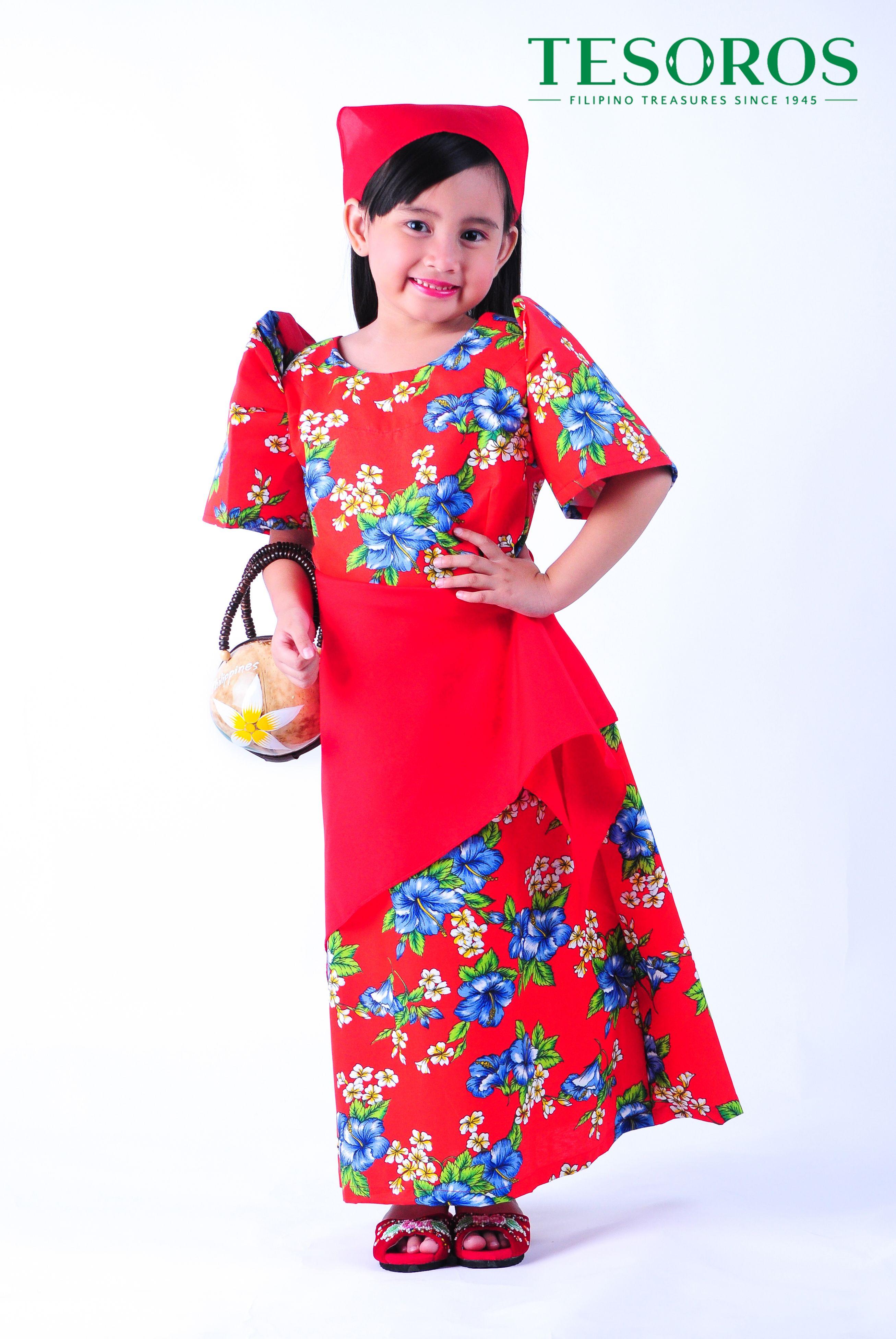 RED FLORAL BALINTAWAK DRESS A proudly young Filipina in Tesoro s Balintawak  with classic terno sleeves. 7cedaecdac
