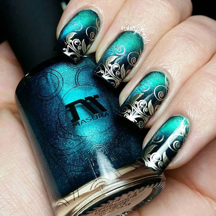 Stamping nail art, magnetic teal swirls #masura # ...