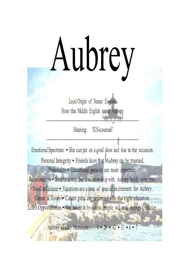 Aubrey name means elf counsel - Firstnamestore | Aubrey ...