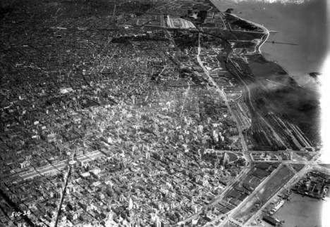 Buenos Aires (Argentina), aerial view of city business district. 1937
