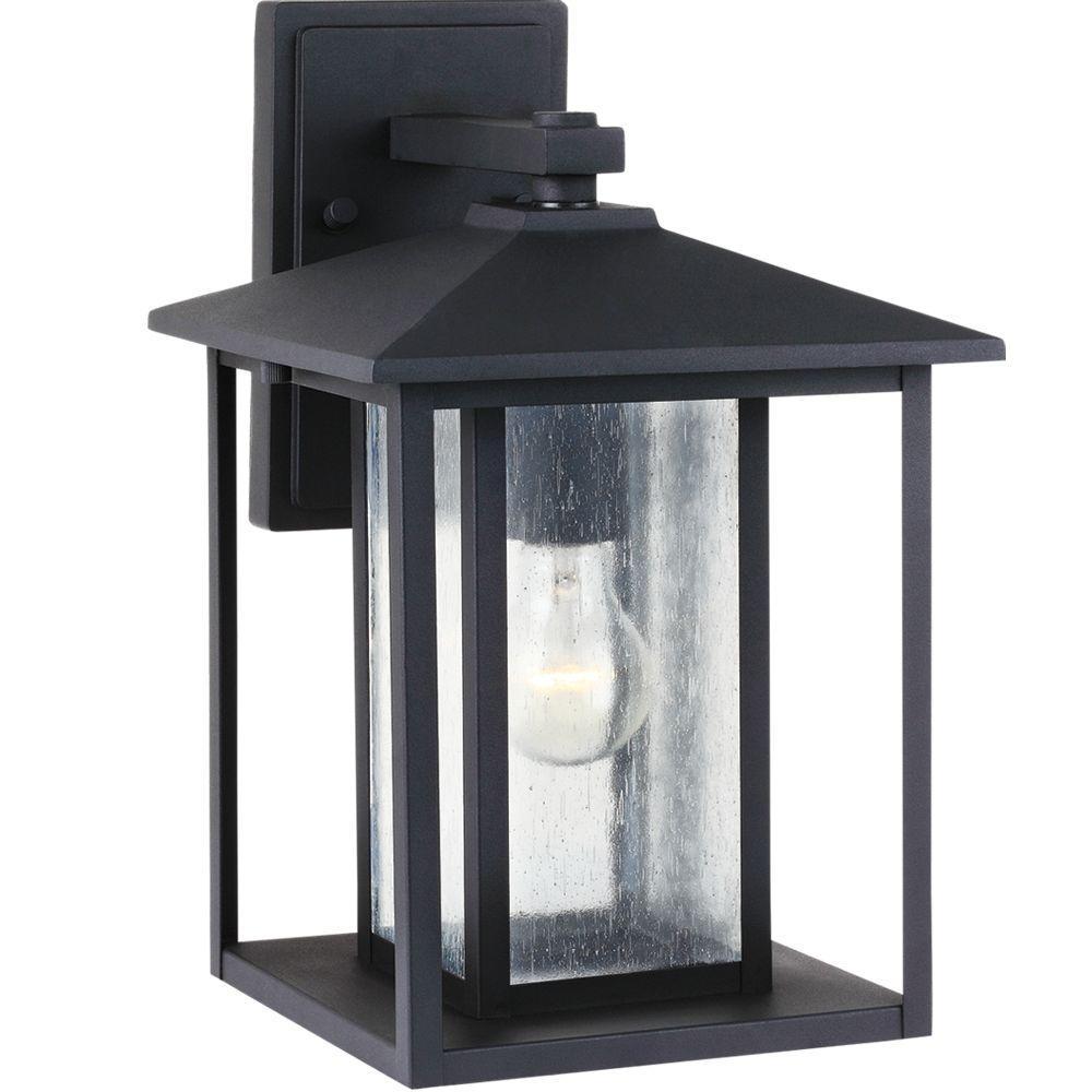 Sea Gull Lighting Hunnington 1-Light Outdoor Black Wall Mount Fixture-88027-12 - The Home Depot