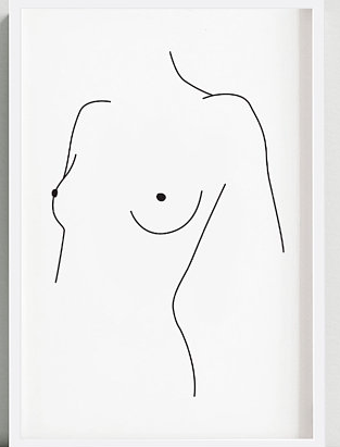 Line art drawing of nude women