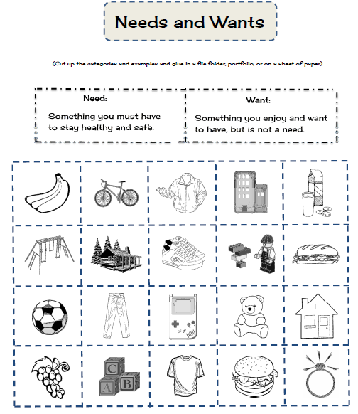 Printables Needs Vs Wants Worksheets 1000 images about needs and wants on pinterest anchor charts goods services emergent readers