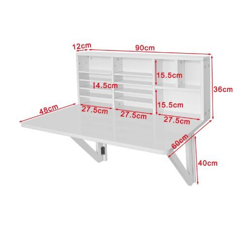 SoBuy Folding Wooden Wall Mounted Drop Leaf Table Desk Integrated With  Storage Shelves, White   The UK Furniture Store