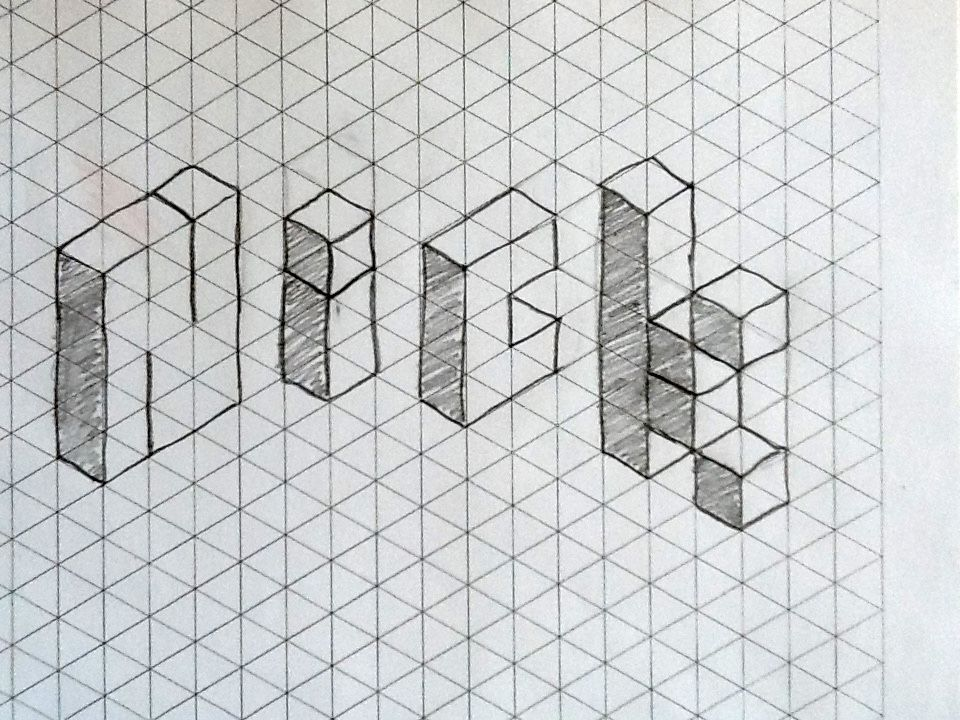 Name on isometric grid - 6th grade Perspective \ Isometrics - free isometric paper