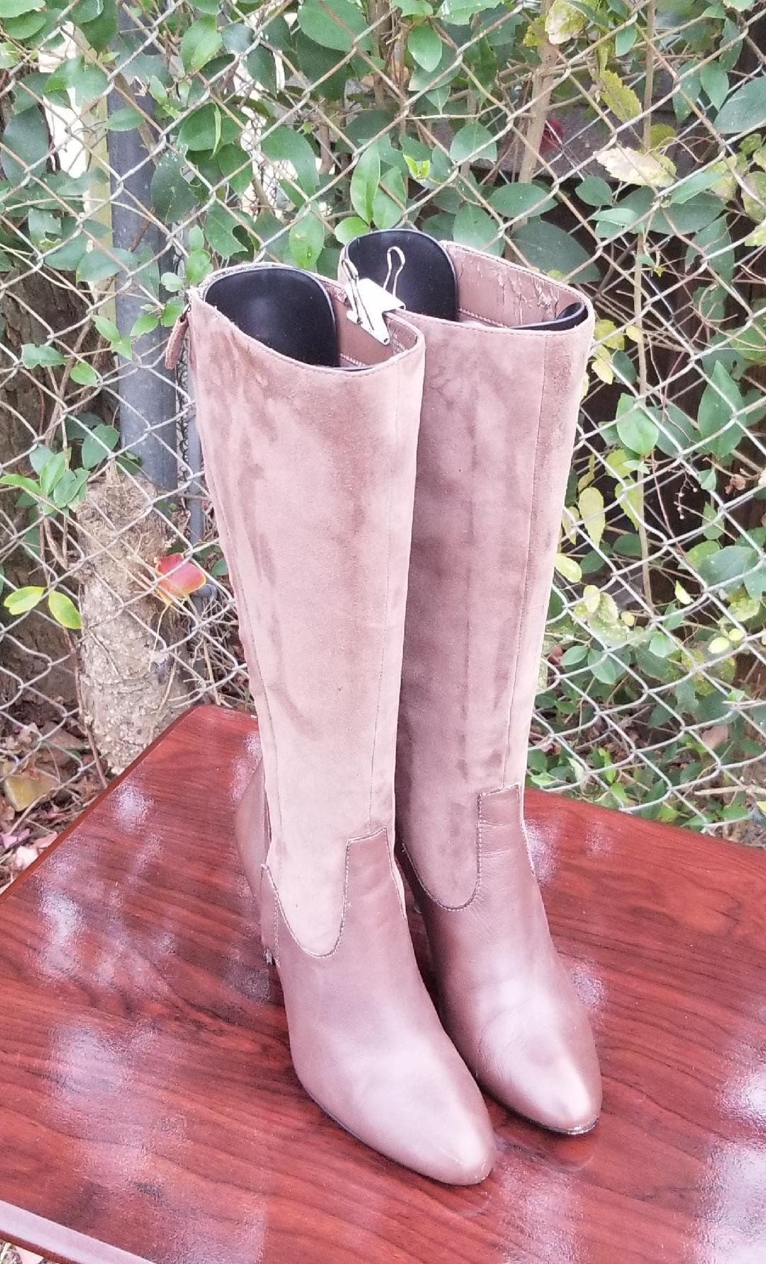 a50236b5cd9a9 S.z. 7 M Brown Leather/Suede Tall Riding Boots/Vintage 90's By ...