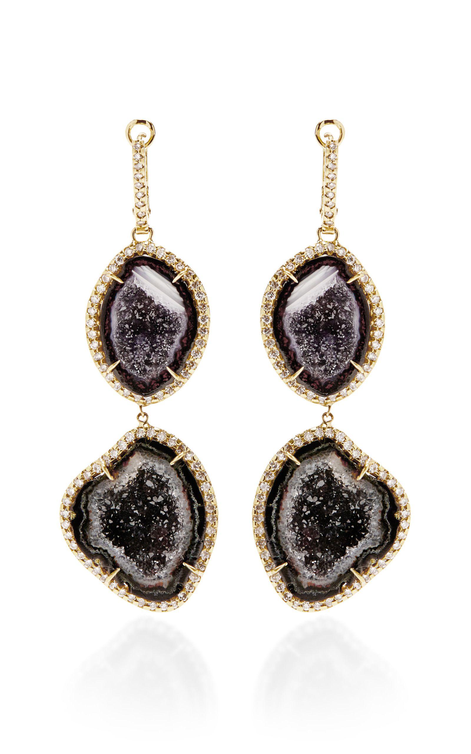 18-karat Rose Gold Geode Earrings - one size Kimberly McDonald 305vXr