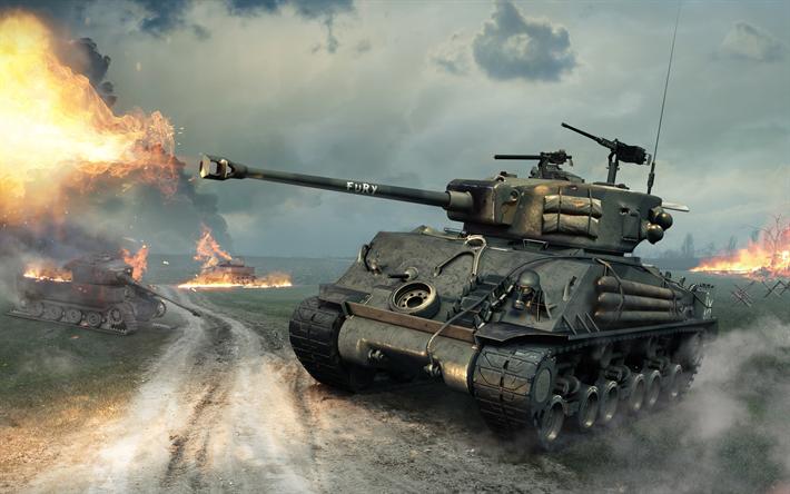 Download wallpapers Fury tank, World of Tanks, M4A3E8 Sherman Fury, unique tank, American tanks ...