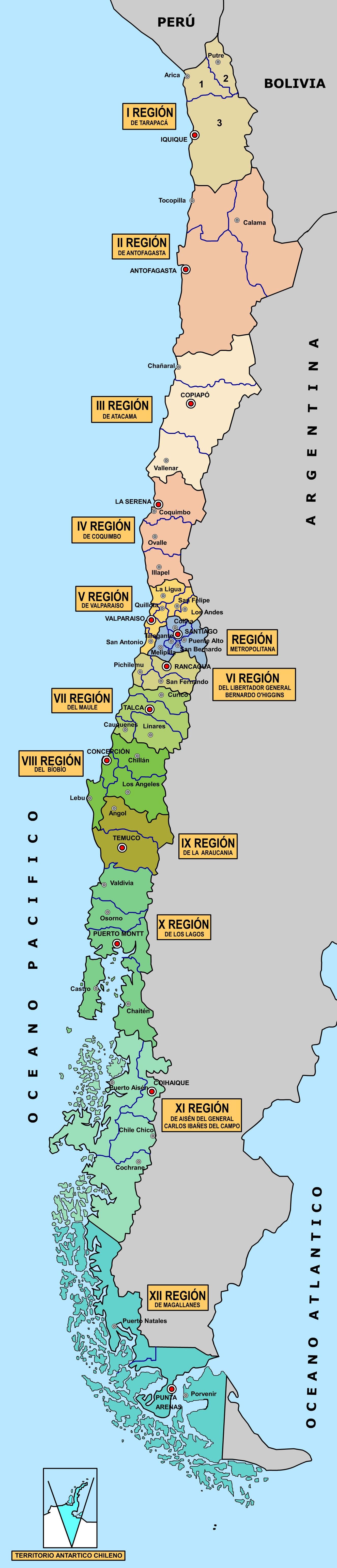 Mapa Politico De Chile.Mapa De Chile Mapa Politico De Chile Mapas Geograficos Y