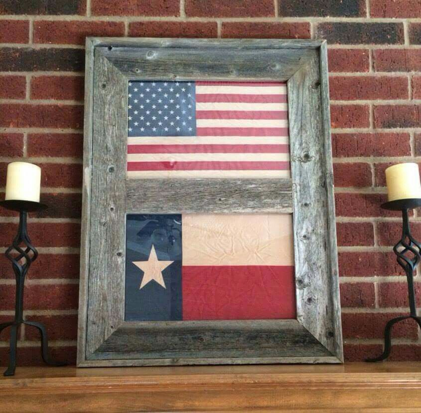 Texas and US flag framed in Barnwood | Interior Decorating ...