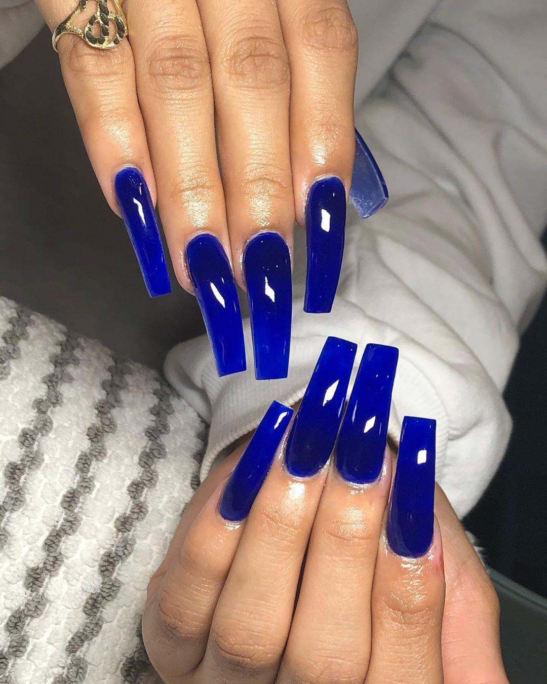 Bluenails Longnails Coffinnails Ienailtech Nailsnailsnails Nailsofinstagram Nailso Blue Acrylic Nails Jelly Nails Blue Long Nails