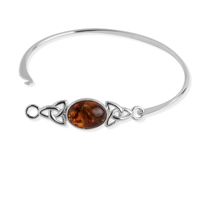 Baltic Honey Amber Sterling Silver Celtic Bracelet 18cm uT7eaK51